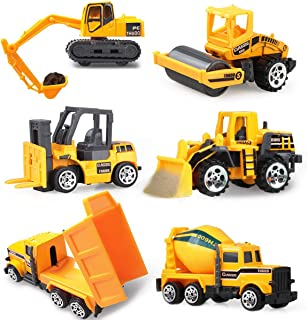 Coolplay Mini Construction Vehicles Dumper, Bulldozers, Forklift, Tank Truck, Asphalt Car and Excavator for Kids, Cake Toppers Car Birthday Party Supplies - Pack of 6