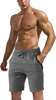 Men's Jogger Sports Shorts Running Gym Workout Shorts Cotton Summer Beach Shorts with Zipper Pockets