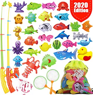 GoodyKing Fishing Game Set for Kids - Magnetic Fishing Water Pool Toy for Toddlers - Bath Outdoor Indoor Carnival Party Water Table Fish Toys for Kids Age 3 4 5 6 Years Old 2 Players Gift