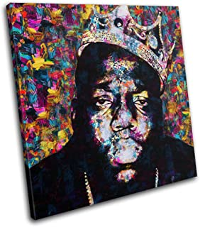 Bold Bloc Design - Notorious BIG Biggie Iconic Celebrities 90x90cm SINGLE Canvas Art Print Box Framed Picture Wall Hanging - Hand Made In The UK - Framed And Ready To Hang