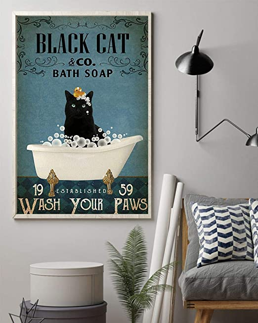 Bath Soap Wash Your Paws Poster No Frame Black Cat /& co