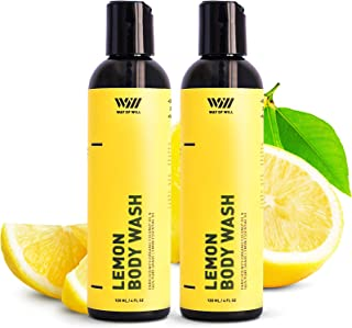 Lemon Body Wash with Organic Coconut Oil and Lemon Essential Oil, Moisturizing Body Wash for Women and Men,...
