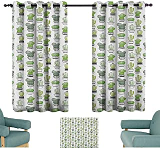 WinfreyDecor Cactus Bedroom Curtain Hand Drawn Foliage Pattern with Ornamental Pottery Design Sketch Style Art Privacy Protection 55