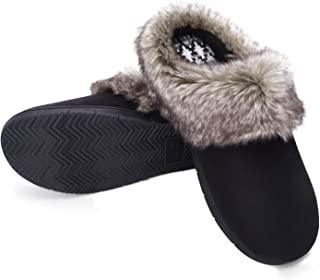 Women's Micro Suede Moccasins Memory Foam Support Insole Faux Fur Fleece Lined Furry Home Slippers Indoor Outdoor Anti-Skid Hard Sole