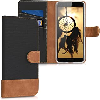 kwmobile Wallet Case for Google Pixel 3 - Fabric and PU Leather Flip Cover with Card Slots and Stand - Black/Brown