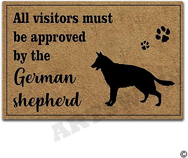 所有来访者都必须经过德国牧羊犬门垫的批准,室内室外入口地垫,带防滑橡胶衬垫,门垫 30 乘 18 英寸