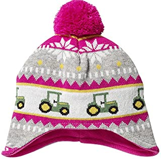 Toddler Pink Knit Hat with Tractors and Pom