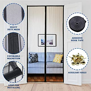 Lulu Home Magnetic Screen Door, Reinforced Mesh Curtain with Full Frame Hook and Loop Fits Door 34 x 82 inch Max