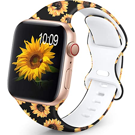 OHOTLOVE Compatible with Apple Watch 38mm 40mm 42mm 44mm for Women Men, Soft Silicone Pattern Printed Replacement Wristband Band For Iwatch Series 6 & Series 5 4 3 2 1.Sunflower D