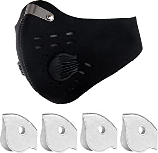 Dust Masks, Dustproof Masks with Filter Fitness Mask, Cycling Mask against Asthma, Pollen Allergies, Contains 4 Extra Activated Carbon Filters for Men Women Outdoor Activities - Black