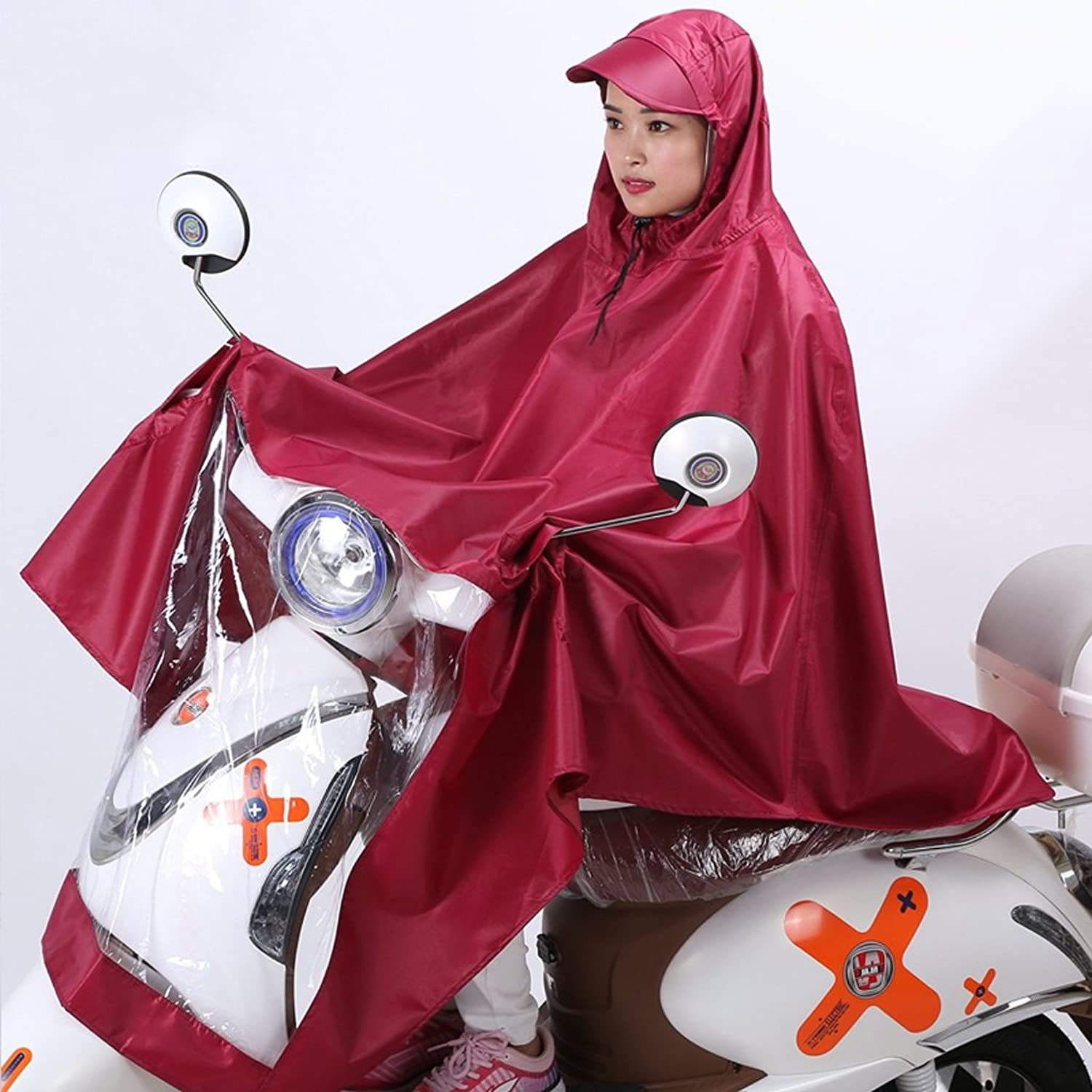 Electric Raincoat Sleeved Single Bicycle Poncho Hooded (color   Red Wine, Size   XXL)