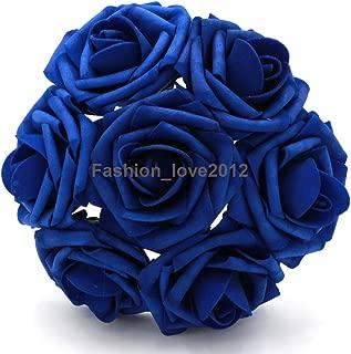 50 pcs Artificial Flowers Foam Roses Various Colors For Bridal Bouquet Bouquets Wedding Centerpieces Kissing Balls (Royal Blue)