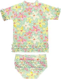 RuffleButts Girls Rash Guard Short Sleeve 2-Piece Swimsuit Set - Polka Dot Bikini with UPF 50+ Sun Protection