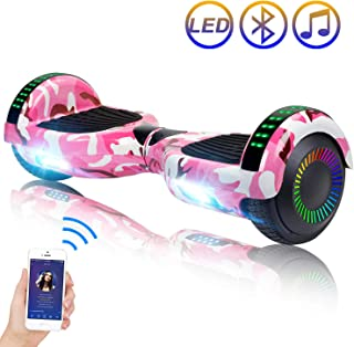 "SISIGAD Hoverboard Self Balancing Scooter 6.5"" Two-Wheel Self Balancing Hoverboard with Bluetooth Speaker and LED Lights Electric Scooter for Adult Kids Gift UL 2272 Certified - Fun Edition"