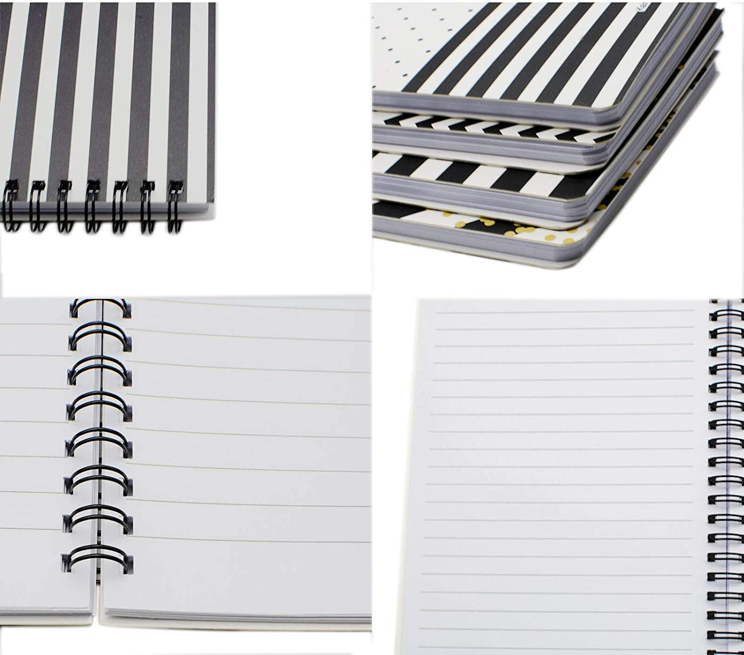 style 7- Black White 4 pack College Ruled Lined Notebook White Paper for Students Office School Supplies Yansanido 4 Pack 80 Sheets Spiral Notebook Journal 8.26 x 5.9 Inch A5