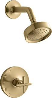 KOHLER TS14422-3-BGD Purist Rite-Temp Shower Valve Trim with Cross Handle and 2.5 gpm showerhead, Vibrant Moderne Brushed Gold