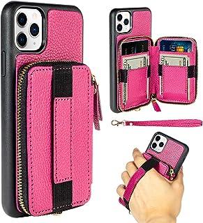 iPhone 11 Pro Max Card Holder Case, iPhone 11 Pro Max Wallet Case, ZVEdeng Zipper Wallet Handbag Purse Wrist Strap Hand St...