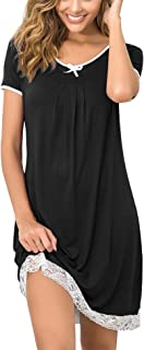 Hotouch Women's Nightgown Short Sleeve Sleepwear Comfy Sleep Shirt Dress Lace Trim Scoopneck Nightshirt S-XXL