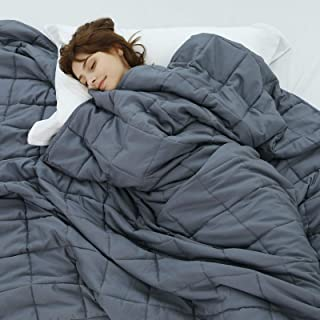 """Weighted Idea Cooling Weighted Blanket Twin Size 15 lbs for Adult (48""""x78"""", Dark Grey ) with Premium Glass Beads"""