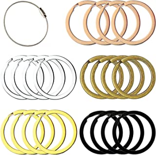 Flat Key Rings Key Chain Metal Split Ring 40pcs (Round 1 Inch Diameter), for Home Car Keys Organization, Arts & Crafts, Lanyards, Lead Free Colored (Black, Silver, Gold, Copper, Antique Brass)