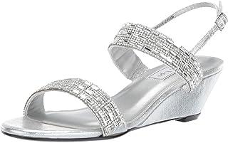 Touch Ups Women's Allison Wedge Sandal, silver, 5 M US