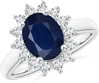 Princess Diana Inspired 2.00 Carats Blue Sapphire Ring with Diamond Halo (9x7mm Blue Sapphire)
