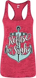 Refuse to Sink - Nautical Anchor Strength Women's Racerback Tank Top