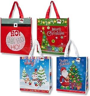 12 Jumbo Christmas Reusable Gift Bag Grocery Shopping Totes for the Holidays