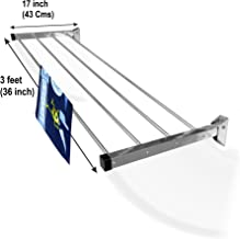 Homwell Stainless Steel Heavy Duty 4 Pipe X 3 Feet Wall Mounted Cloth Dryer Stand Foldable (Lifetime Warranty) Hold N Dry
