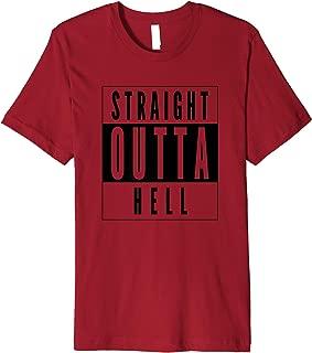 Straight Outta Hell Halloween Simple Black Design Premium T-Shirt