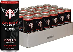 Angry Angel Blackberry Lemon Natural Energy Drink - (24 count) 12 oz Cans with CoQ10 + Important Vitamins & Minerals
