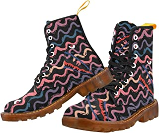 Artsadd Fashion Shoes Anchor Flower Lace Up Boots for Women
