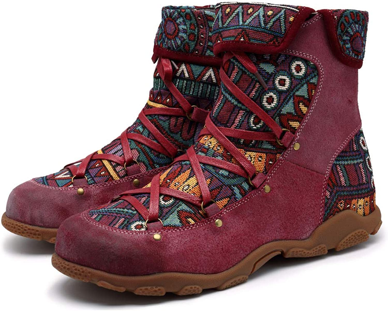 Crazycatz Womens Bohemian Aztec Pattern Flat Leather Boots Handmade