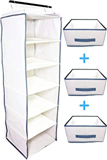 häbe Habe Premium Hanging Closet Organizer - Strongest Heavy Duty Storage Shelves Organizers with PerfectFit Foldable Drawers - Stop Back-Breaking Cleanup, Free Up Mental Space, Declutter Your Closet