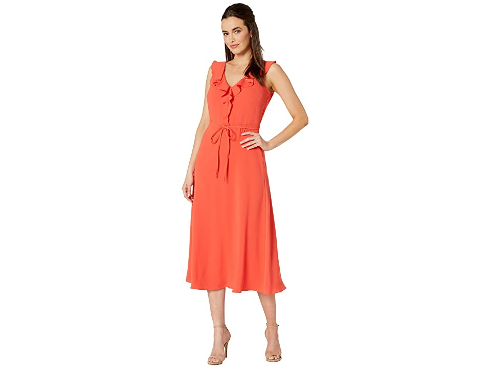 Nine West Crepe Back Satin V-Neck Midi Dress w/ Self Sash (Papaya) Women