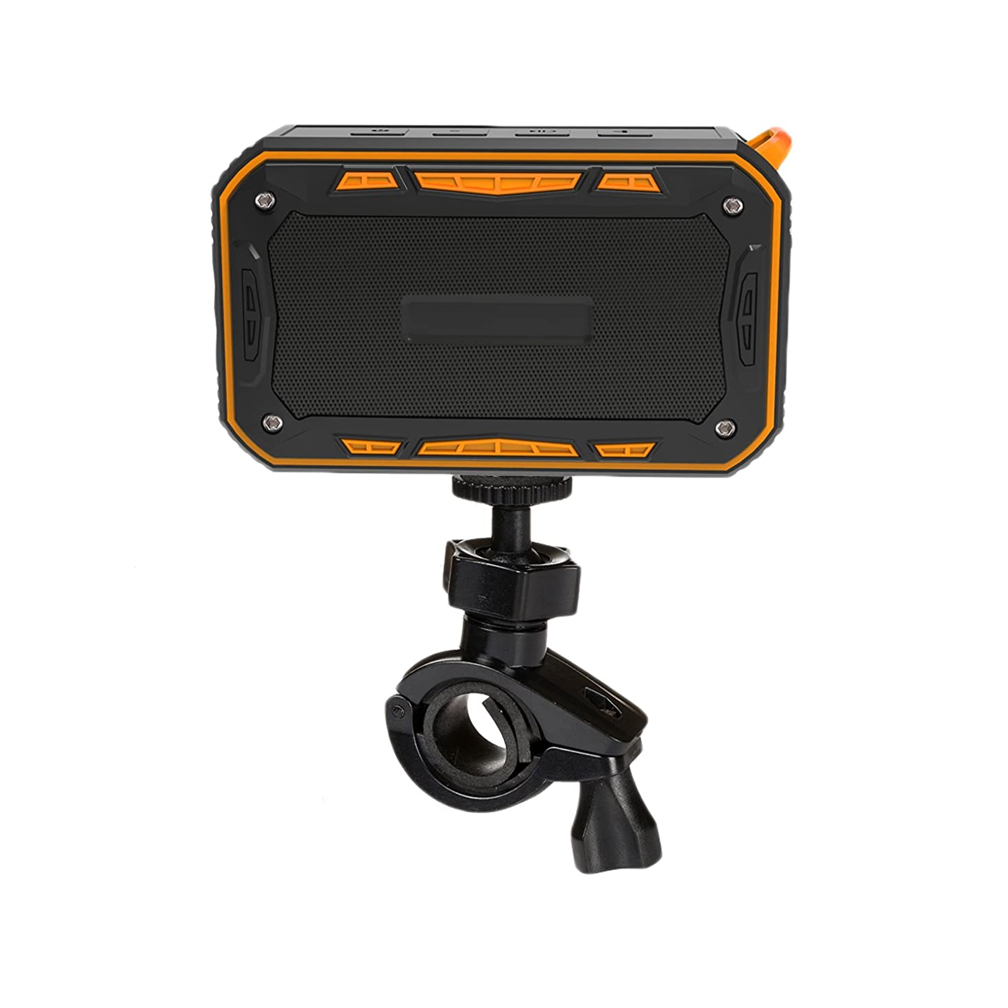 Waterproof Bluetooth Speaker,Outdoor Speaker with bicycle holder, Louder Volume 6W+,Hands Free/FM Mode/AUX Input/TF Card, 2000Mah Emergency Charging Perfect for Beach Shower Outdoor(Orange)