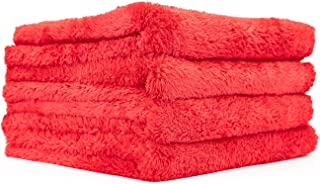 The Rag Company (4-Pack 16 in. x 16 in. Eagle EDGELESS 500 Professional Korean 70/30 Super Plush 500gsm Microfiber Detailing Towels (16x16, Red)