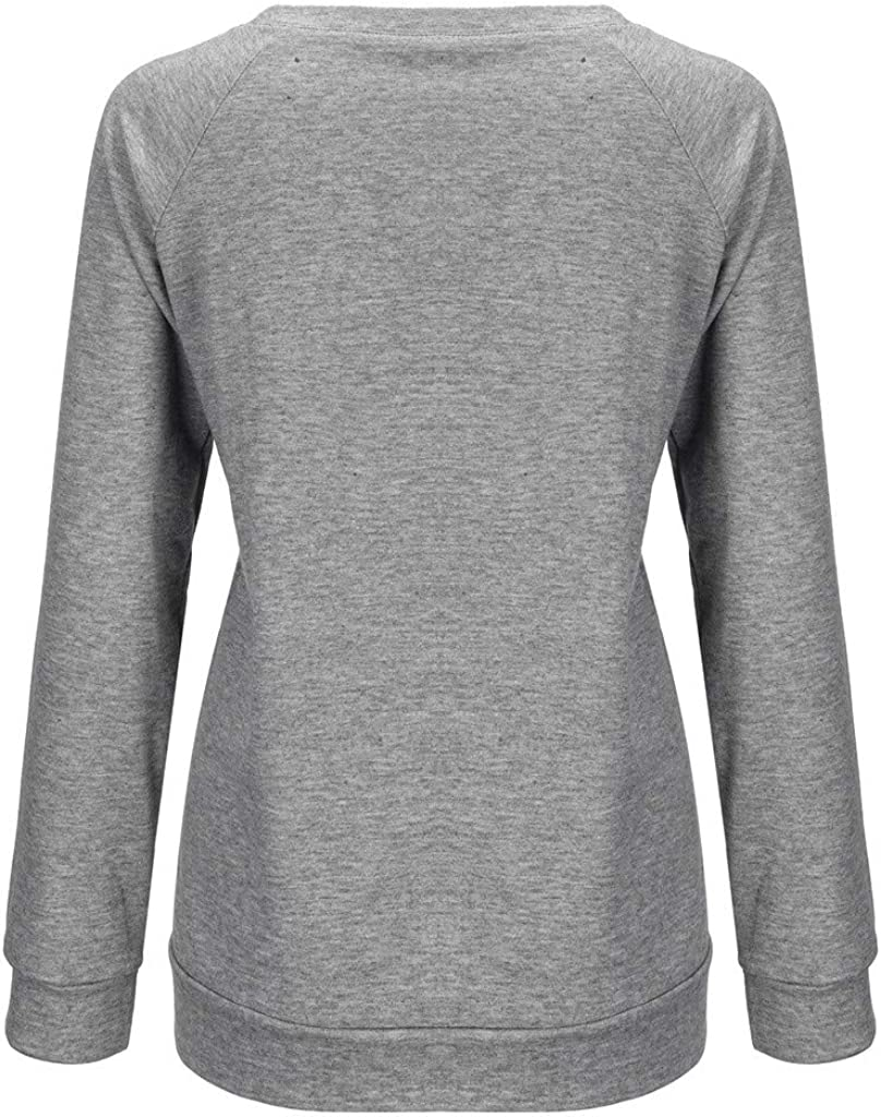 POTO Pullover Sweatshirts for Women Cround Neck Long Sleeve Blouses Dandelion Printing Tee Shirts Tops