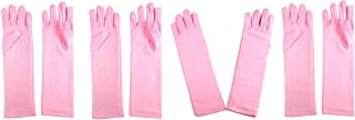 Girls Tea Party Stretch Polyester Long Dress Gloves Set of 4 Pink Childrens