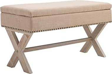 """HOMCOM 35.75"""" Rectangle Fabric Shoe Bench Storage Ottoman with Soft Sponge Cushion, for Entryway or Living Room, Beige"""