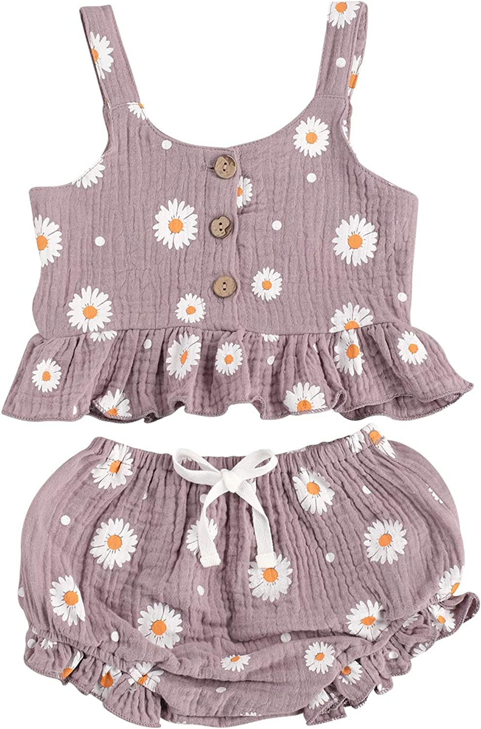 Kuriozud Toddler Baby Girl Ruffle Vest Halter Top + Shorts with Bowknot 2 Piece Summer Outfits