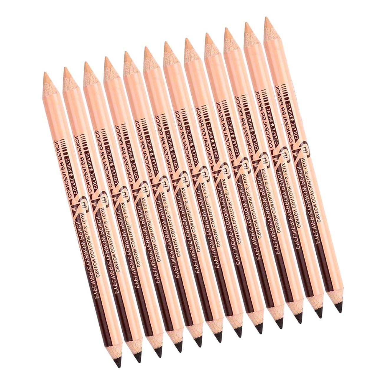 チューリップ震え横メイクペンペンシル アイライナーペンシル アイブローペンシル コンシーラーペンシル 両面 多機能 便利 全3色セット - ディープブラウン+スキンカラー