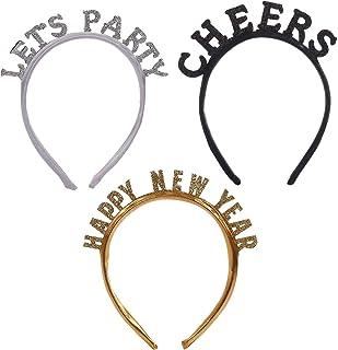 BinaryABC Happy New Years Headband,Lets Party Cheers Headband,2021 New Year Eve Party Favors Gifts,3Pcs
