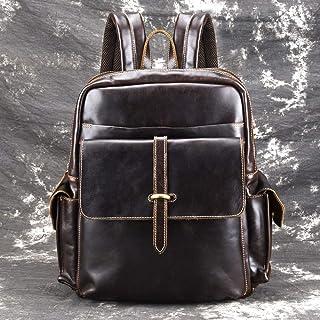 Sponsored Ad – Accompanying Backpack Leather Skin Retro Bulk Oil Wax Cowhide Outdoor M Backpack Bag 28 * 36 * 13cm