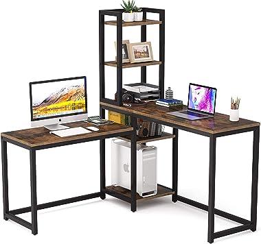 TEKAVO - L-Shaped Desk Computer Corner Desk, Home Office Double Desk, Gaming Desk with 5 Storage Shelves, 5 Tier Desk, Study