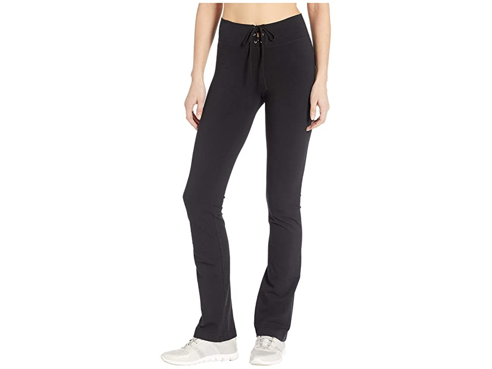 Hard Tail High-Waisted Lace-Up Skinny Flare Pants (Black) Women