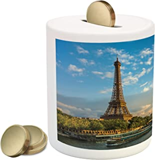Ambesonne Eiffel Tower Piggy Bank, Sunset Over Eiffel Tower and Seine River Paris France Nature Scene, Ceramic Coin Bank Money Box for Cash Saving, 3.6