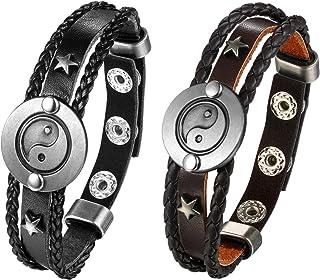 JewelryWe 2PCS Vintage Yin Yang Bracelet Ethnic Style Wrap Leather Bracelet Tai Chi Jewellery for Men Women,Adjustable