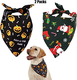 Jashem Halloween Dog Bandana and Christmas Dog Bandanas in One Pack Pet Triangle Bibs Scarf Fit for Large Medium or Small Dog Collar for Holiday Party