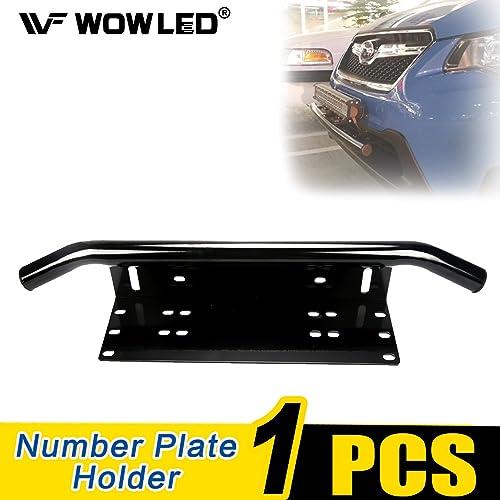 Rayinblue Front Bumper Number Plate Holder Offroad LED Light Bar Mount Bracket Silver 4WD
